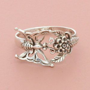 blushed sterling silver butterfly & flower ring si